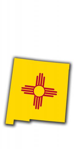 New Mexico State Flag Outline (White Background) Themed Custom Cornhole Board Design