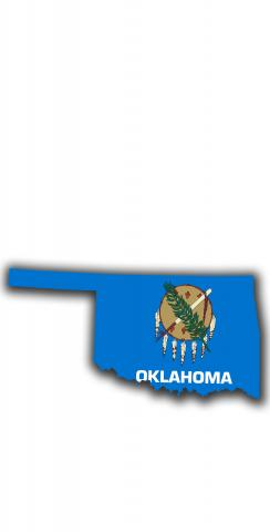 Oklahoma State Flag Outline (White Background) Themed Custom Cornhole Board Design