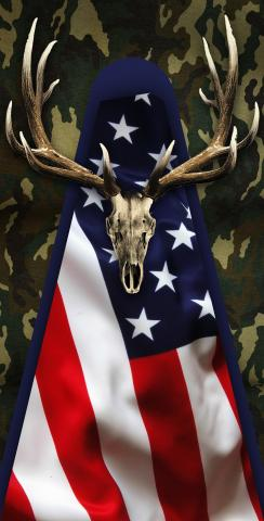 Patriotic Deer Mount With Camouflage Themed Custom Cornhole Board Design