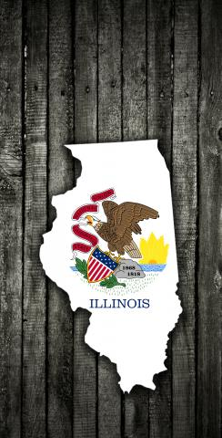 Wood Slate State Flag & Map (Illinois) Themed Custom Cornhole Board Design
