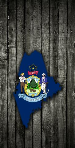 Wood Slate State Flag & Map (Maine) Themed Custom Cornhole Board Design