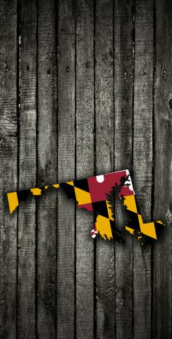 Wood Slate State Flag & Map (Maryland) Themed Custom Cornhole Board Design