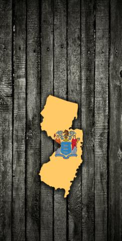 Wood Slate State Flag & Map (New Jersey) Themed Custom Cornhole Board Design