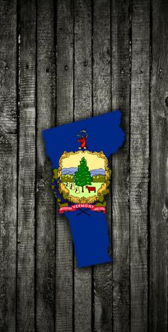 Wood Slate State Flag & Map (Vermont) Themed Custom Cornhole Board Design