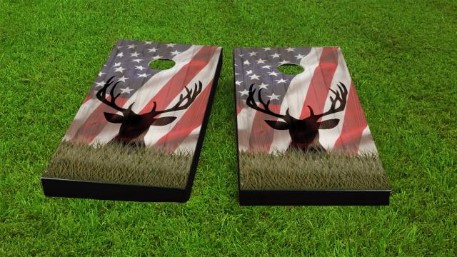 American Flag With Deer Faded