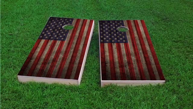Worn Woodslat American Flag USA