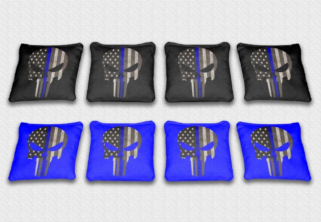 Blue Line Punisher Themed premium specialty custom cornhole bags made right here in the USA!