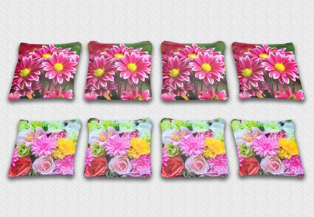 Bright FloweryThemed premium specialty custom cornhole bags made right here in the USA!