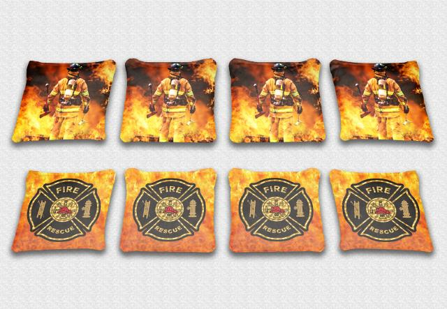 Firefighter Themed premium specialty custom cornhole bags made right here in the USA!