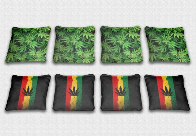 Marijuana Themed premium specialty custom cornhole bags made right here in the USA!
