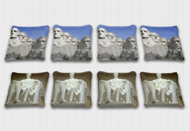 Mount Rushmore Themed premium specialty custom cornhole bags made right here in the USA!