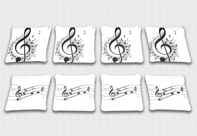 Music Notes Themed premium specialty custom cornhole bags made right here in the USA!