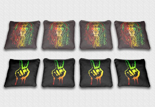 Rastafarian Themed premium specialty custom cornhole bags made right here in the USA!