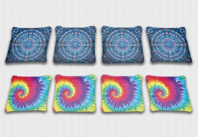Tye Dye Themed premium specialty custom cornhole bags made right here in the USA!