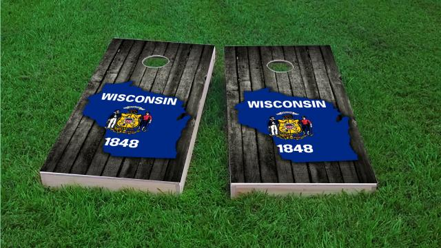 Wood Slate State Flag & Map (Wisconsin)