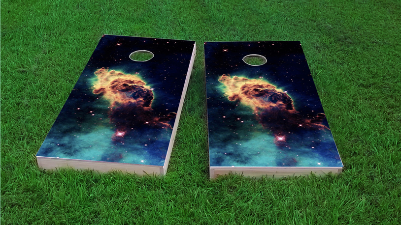Space Dust Themed Custom Cornhole Board Design