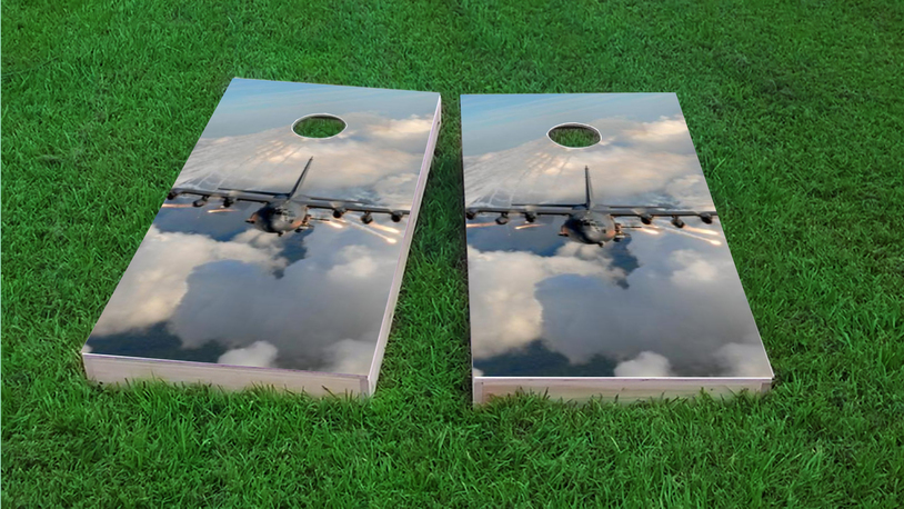 Jet Themed Custom Cornhole Board Design
