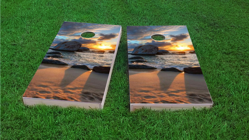 Sunset on the Beach Themed Custom Cornhole Board Design