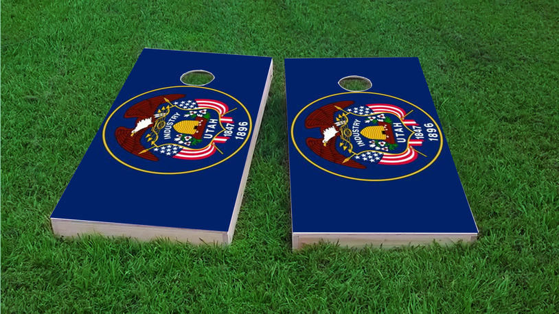 Utah State Flag Themed Custom Cornhole Board Design