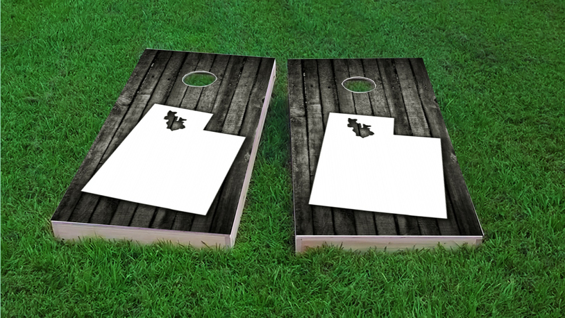 Wood Slat State (Utah) Themed Custom Cornhole Board Design