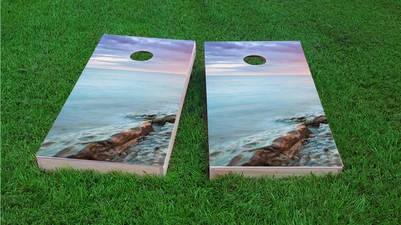 Pink Sky Themed Custom Cornhole Board Design