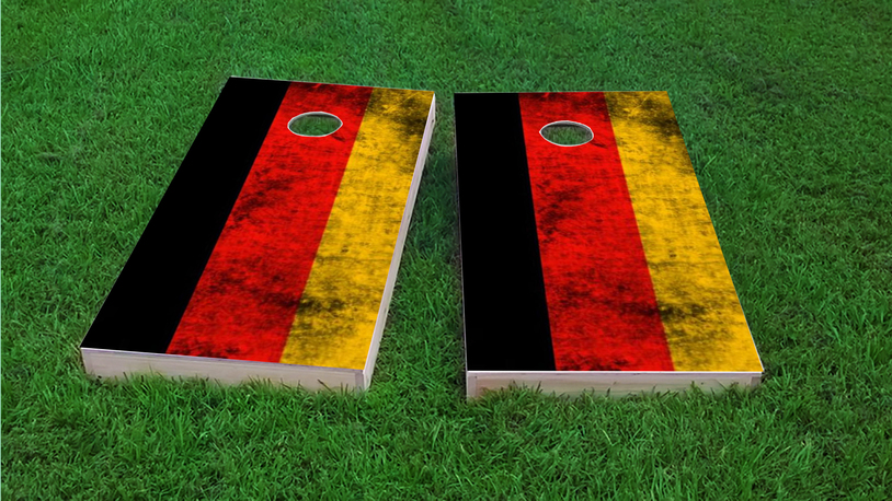 Worn National (Germany) Flag Themed Custom Cornhole Board Design