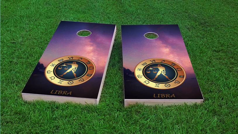 Zodiac Stars (Libra) Themed Custom Cornhole Board Design