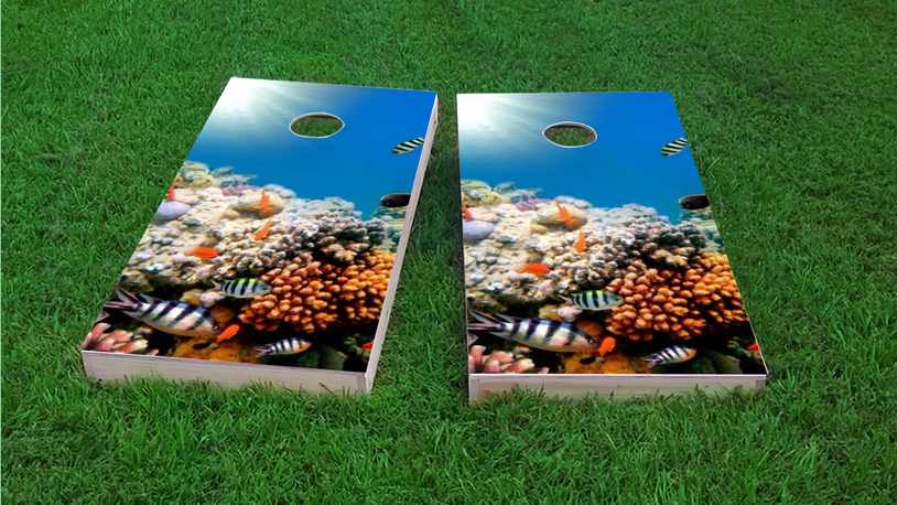 Coral Fish Themed Custom Cornhole Board Design