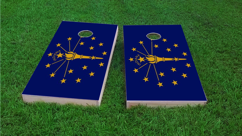 Indiana State Flag Themed Custom Cornhole Board Design