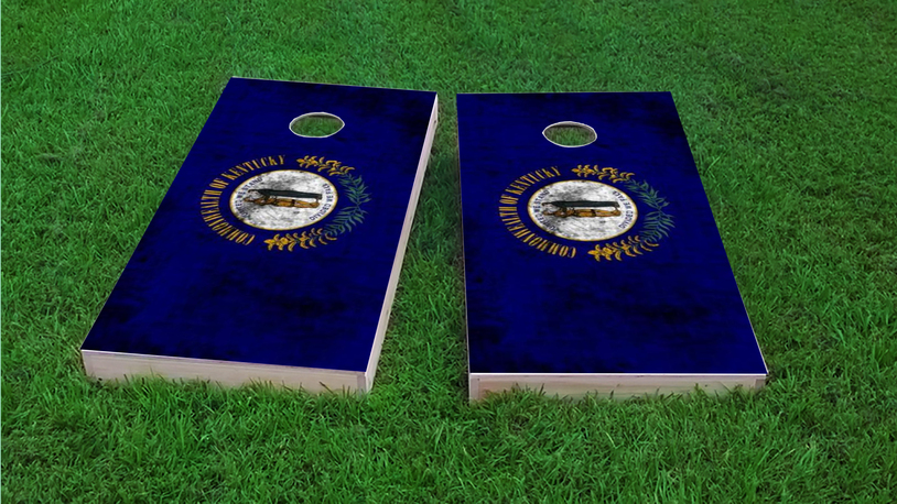 Worn State (Kentucky) Flag Themed Custom Cornhole Board Design