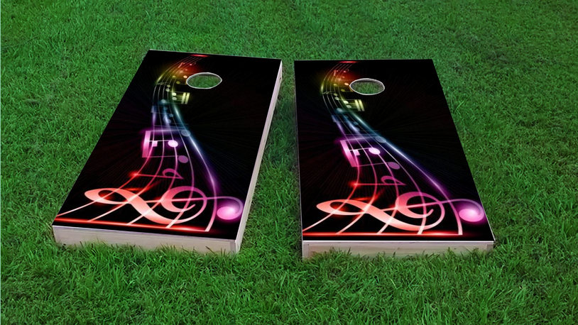 Music Notes Themed Custom Cornhole Board Design