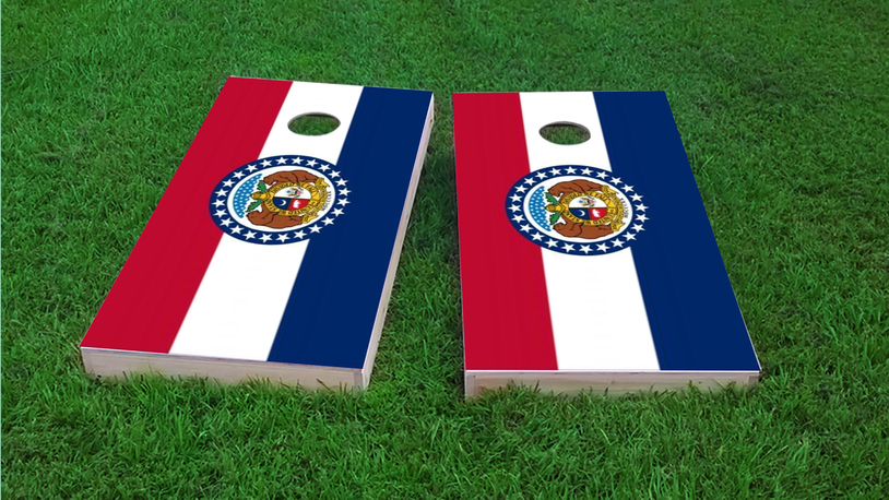Missouri State Flag Themed Custom Cornhole Board Design