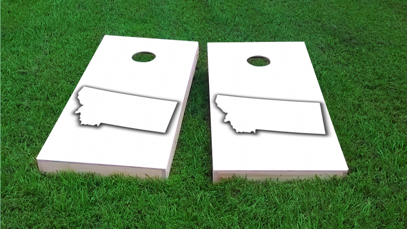 White Montana Themed Custom Cornhole Board Design