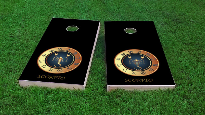Zodiac Black (Scorpio) Themed Custom Cornhole Board Design