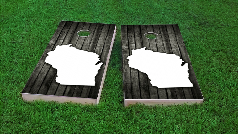 Wood Slat State (Wisconsin) Themed Custom Cornhole Board Design