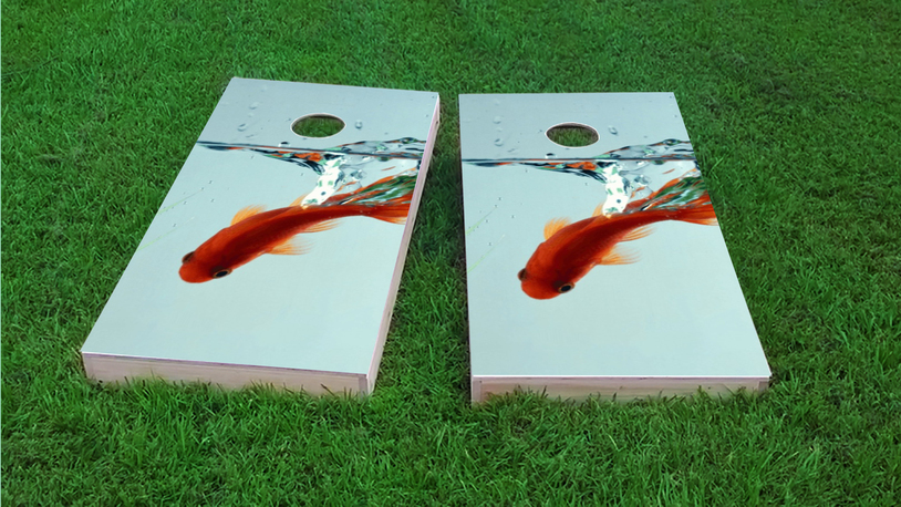 Goldfish In Bowl Themed Custom Cornhole Board Design