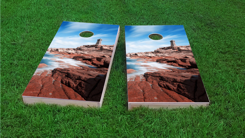 Lighthouse by the Sea Themed Custom Cornhole Board Design