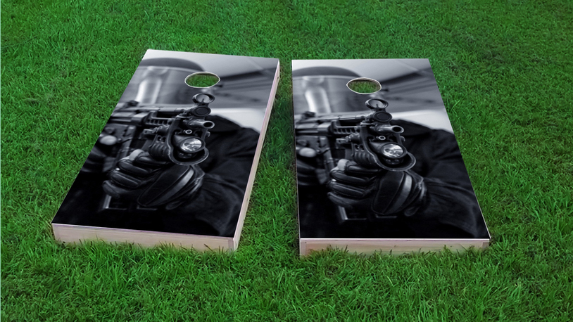SWAT Team Member Themed Custom Cornhole Board Design