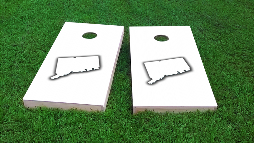 White Connecticut Themed Custom Cornhole Board Design