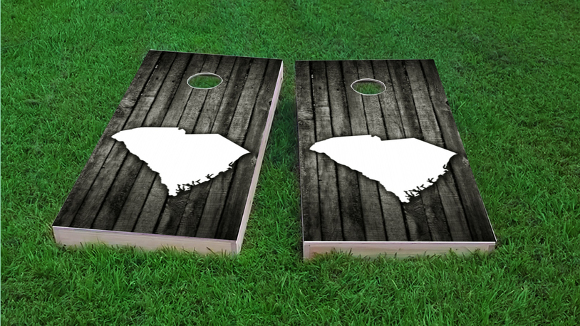 Wood Slat State (South Carolina) Themed Custom Cornhole Board Design