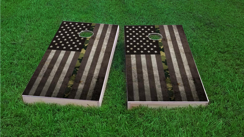 American Thin BDU (Marines) Line Themed Custom Cornhole Board Design
