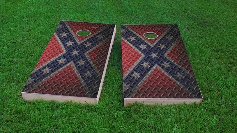 Diamond Plate Rebel / Confederate Flag Themed Custom Cornhole Boards Design