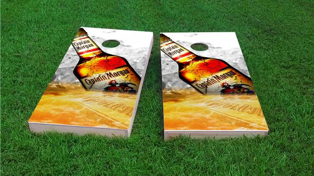 Captain Morgan Themed Custom Cornhole Board Design