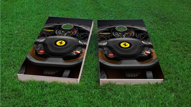 Ferrari Steering Wheel Themed Custom Cornhole Board Design