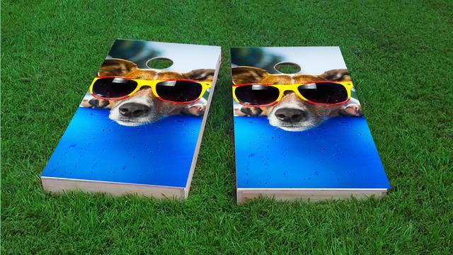 Summer Dog Themed Custom Cornhole Board Design