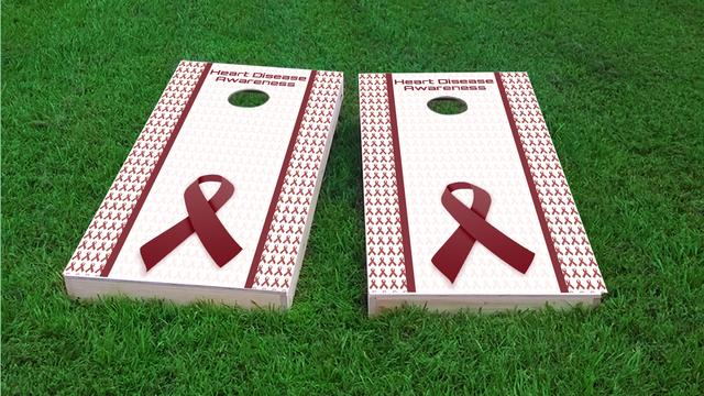 Heart Disease Awareness Themed Custom Cornhole Board Design