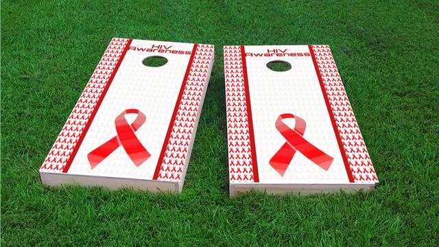 HIV Awareness Themed Custom Cornhole Board Design