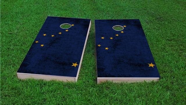 Worn State (Alaska) Flag Themed Custom Cornhole Board Design