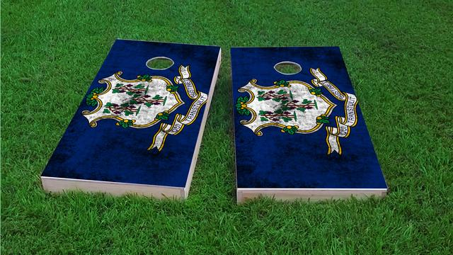 Worn State (Connecticut) Flag Themed Custom Cornhole Board Design