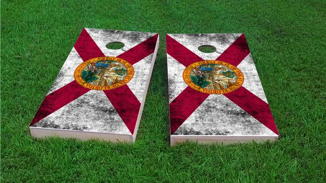 Worn State (Florida) Flag Themed Custom Cornhole Board Design